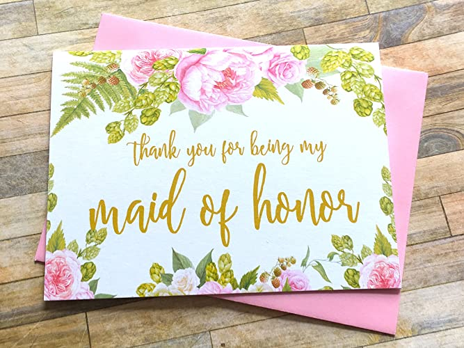 Amazoncom Thank You For Being My Maid Of Honor Card Pink Peony