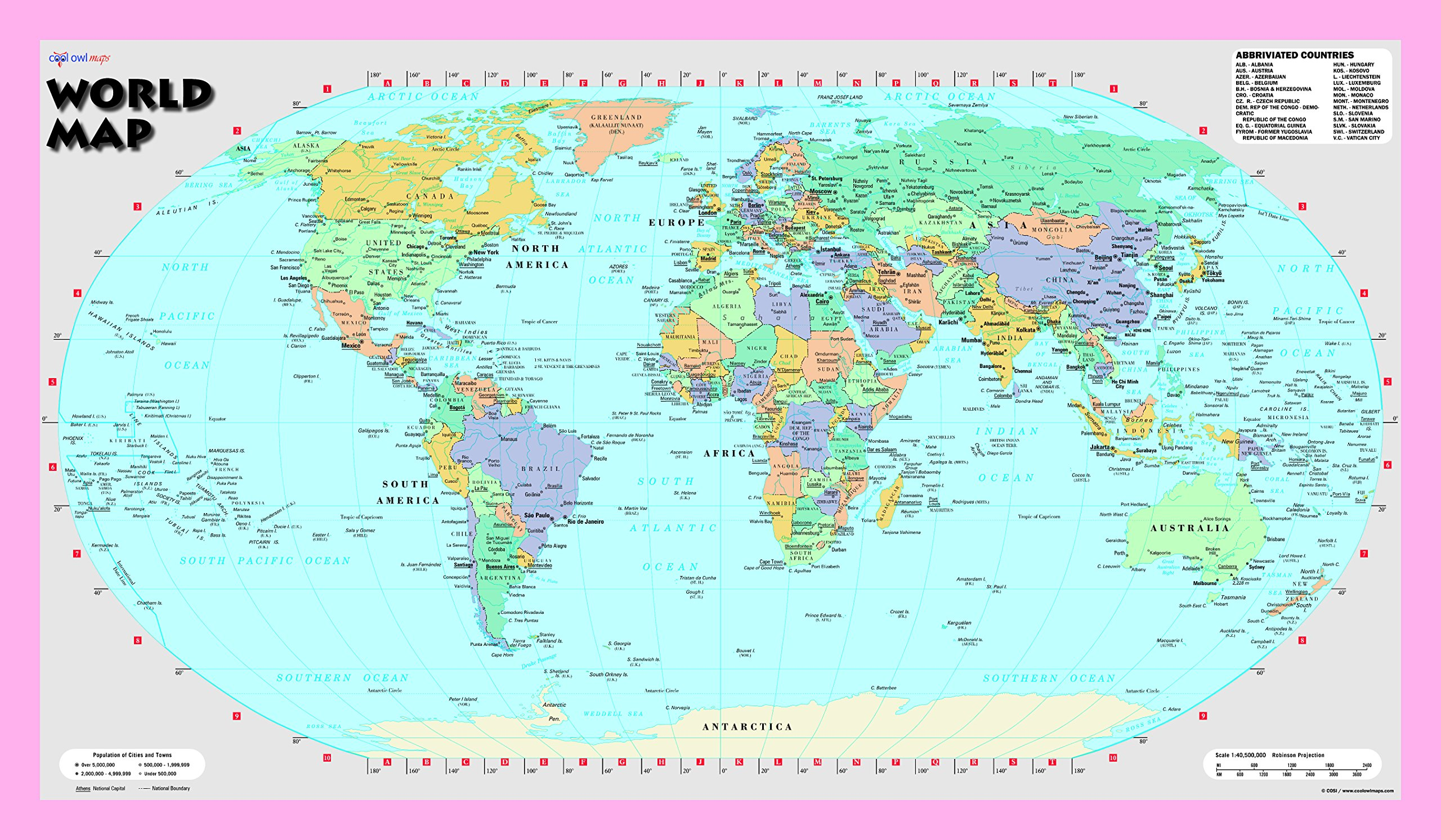 World Wall Map Robinson Projection - Poster Size (21''x36'') Rolled Paper (Pink)
