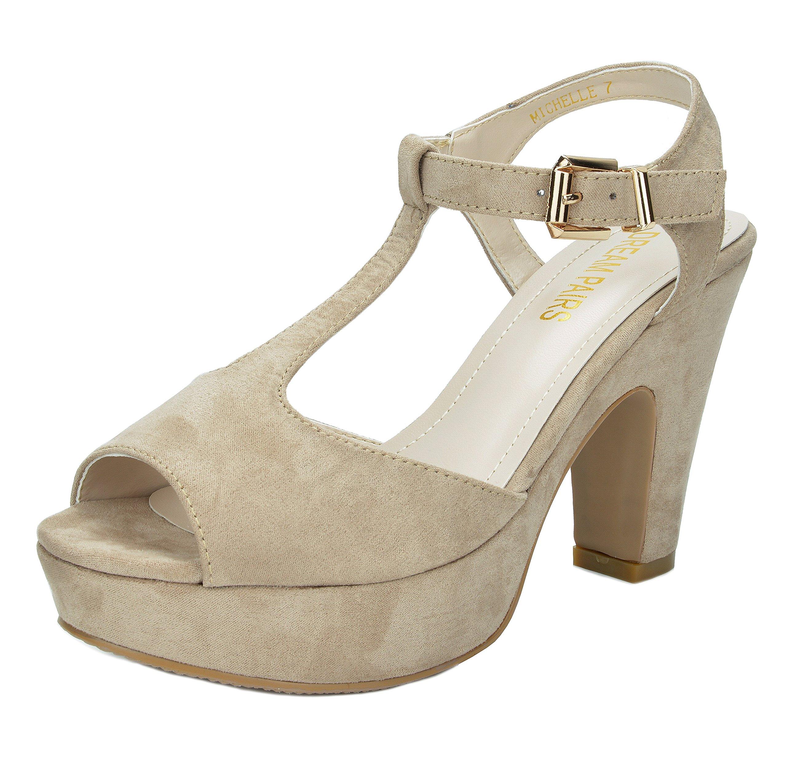 DREAM PAIRS Women's Michelle Beige Mid Heel Platform Pump Sandals - 8 M US