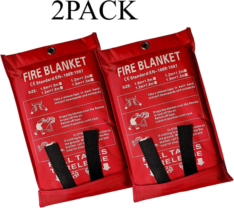 parrilla chimenea camping Lonnsaffe Manta de seguridad de fibra de vidrio para incendios de emergencia ideal para cocina coche