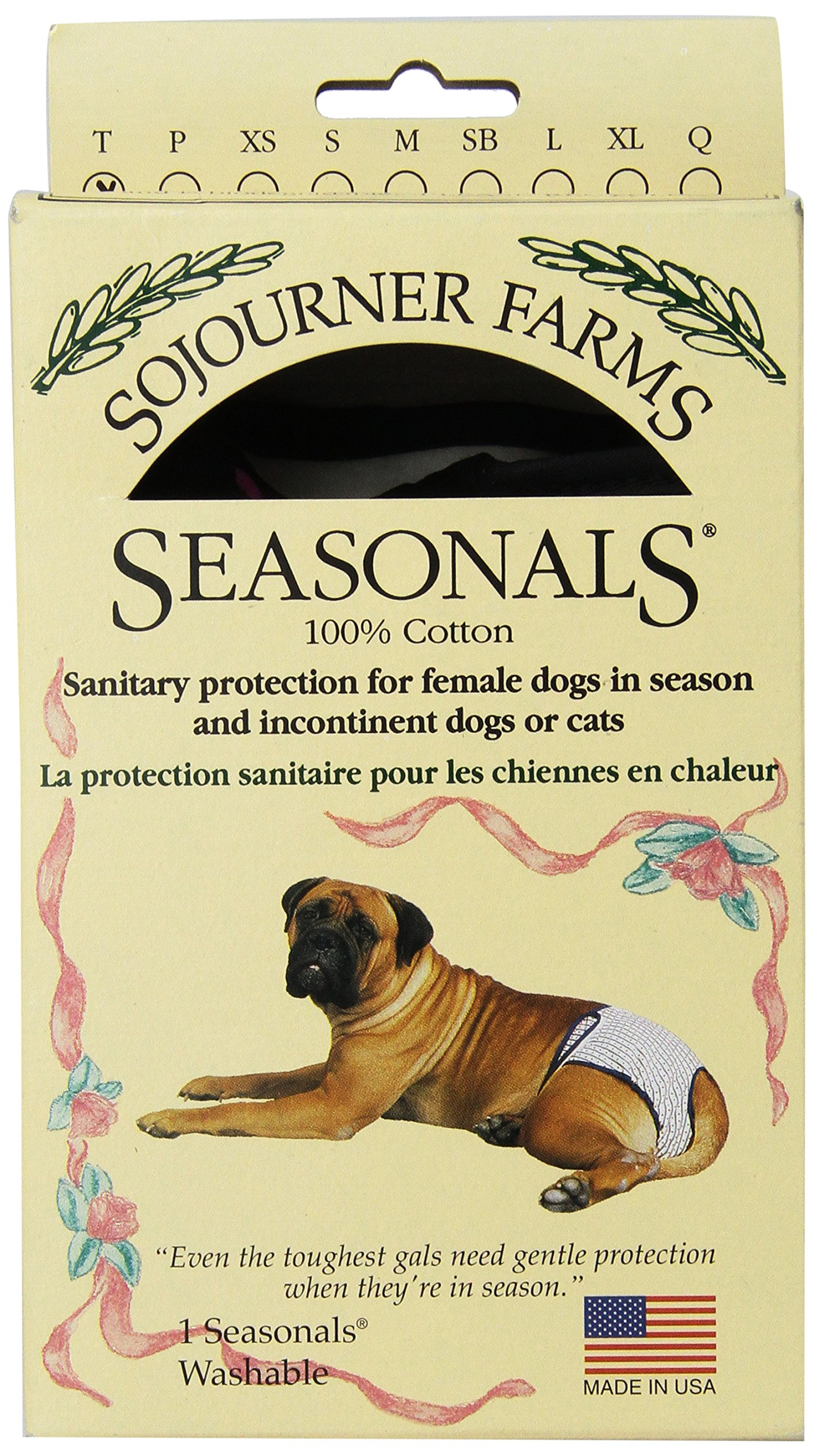 Seasonals Washable Dog Diaper, Fits Toy Dogs, Tiger