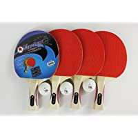 Martin Kilpatrick Vortex 4 Player Table Tennis Racket Set - 4 Ping Pong Paddles - 3 Ping Pong Balls – Great Beginner Ping Pong Racket Set