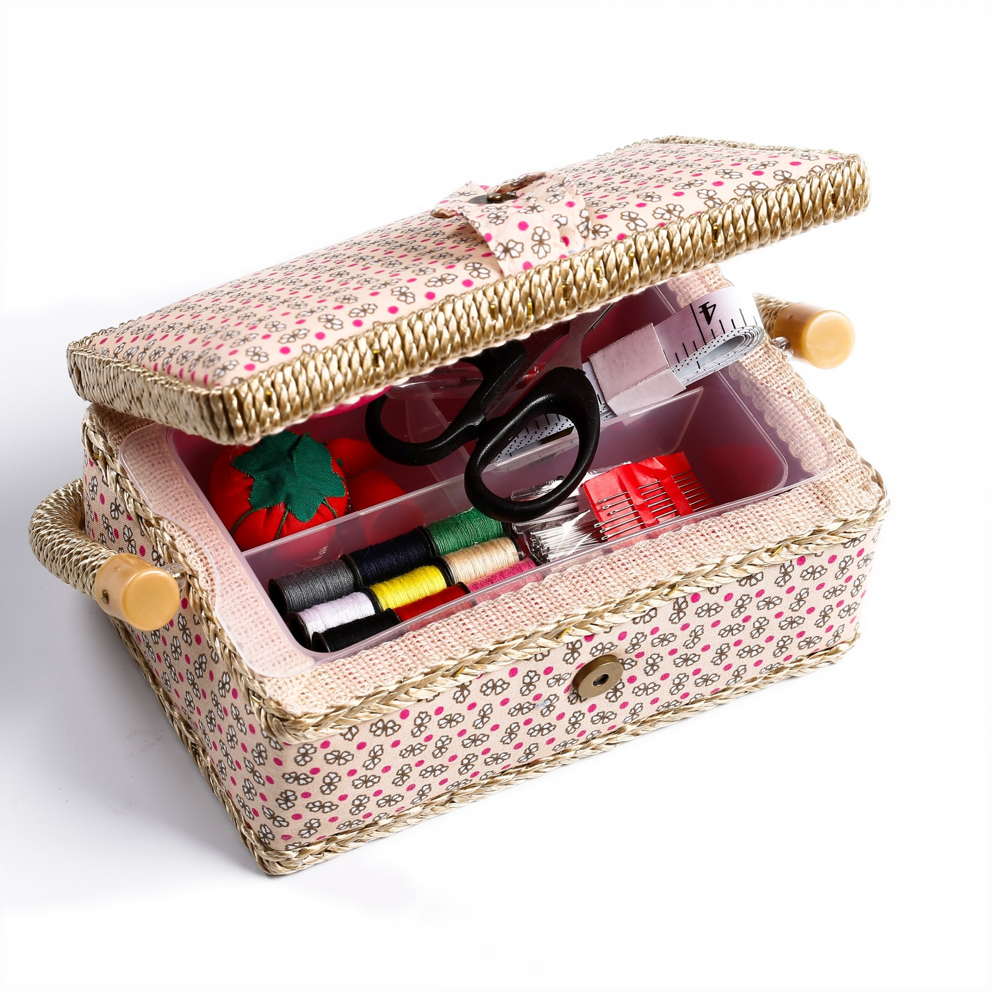 bbloop Small Vintage Sewing Basket with Notions Package - Tan Flower Style by bbloop