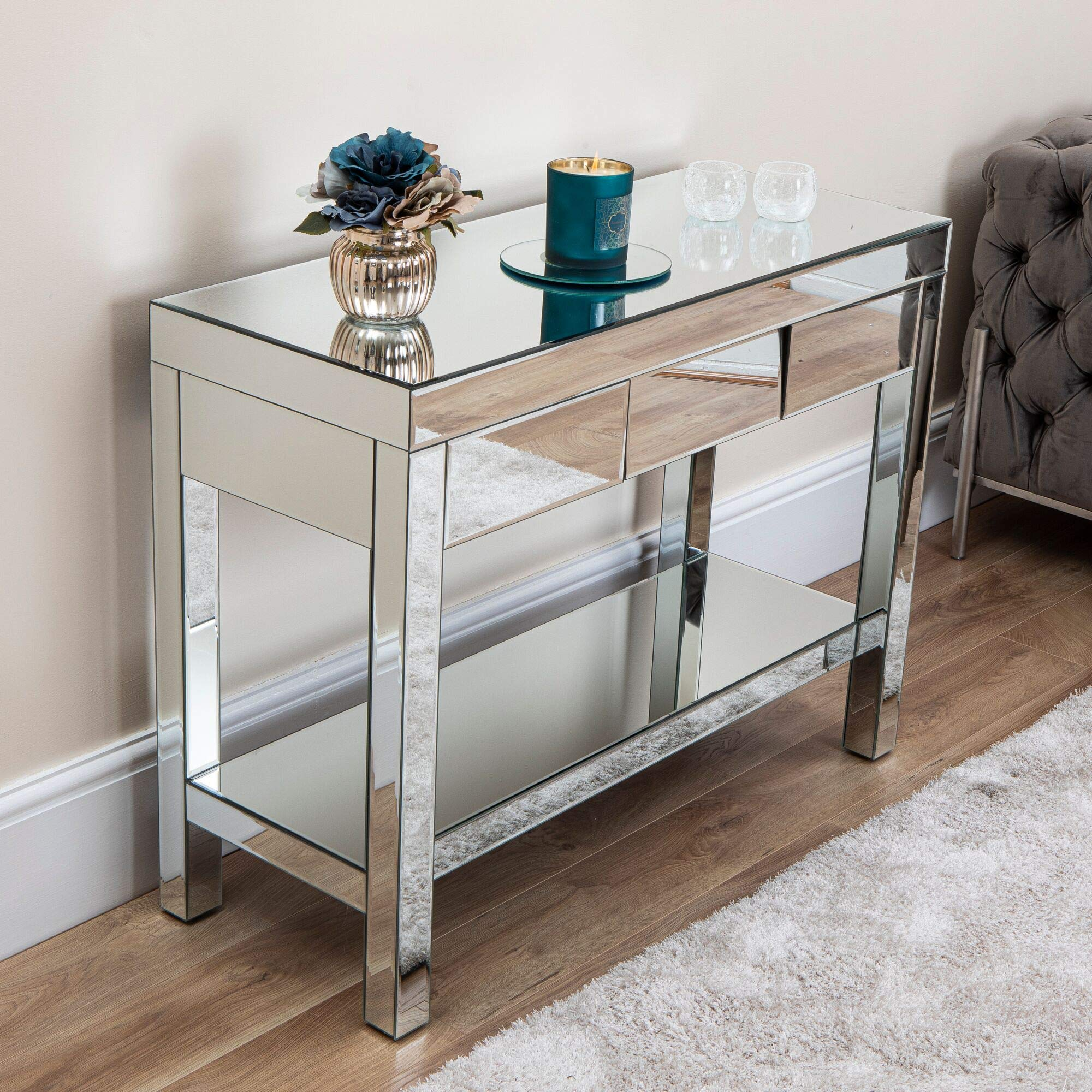 Mirrored Furniture Console Coffee Table Corner Unit Mirror Angled Drawers  for Living Room Dining Bedroom Hallway (Mirrored Angled 12 Drawer Console