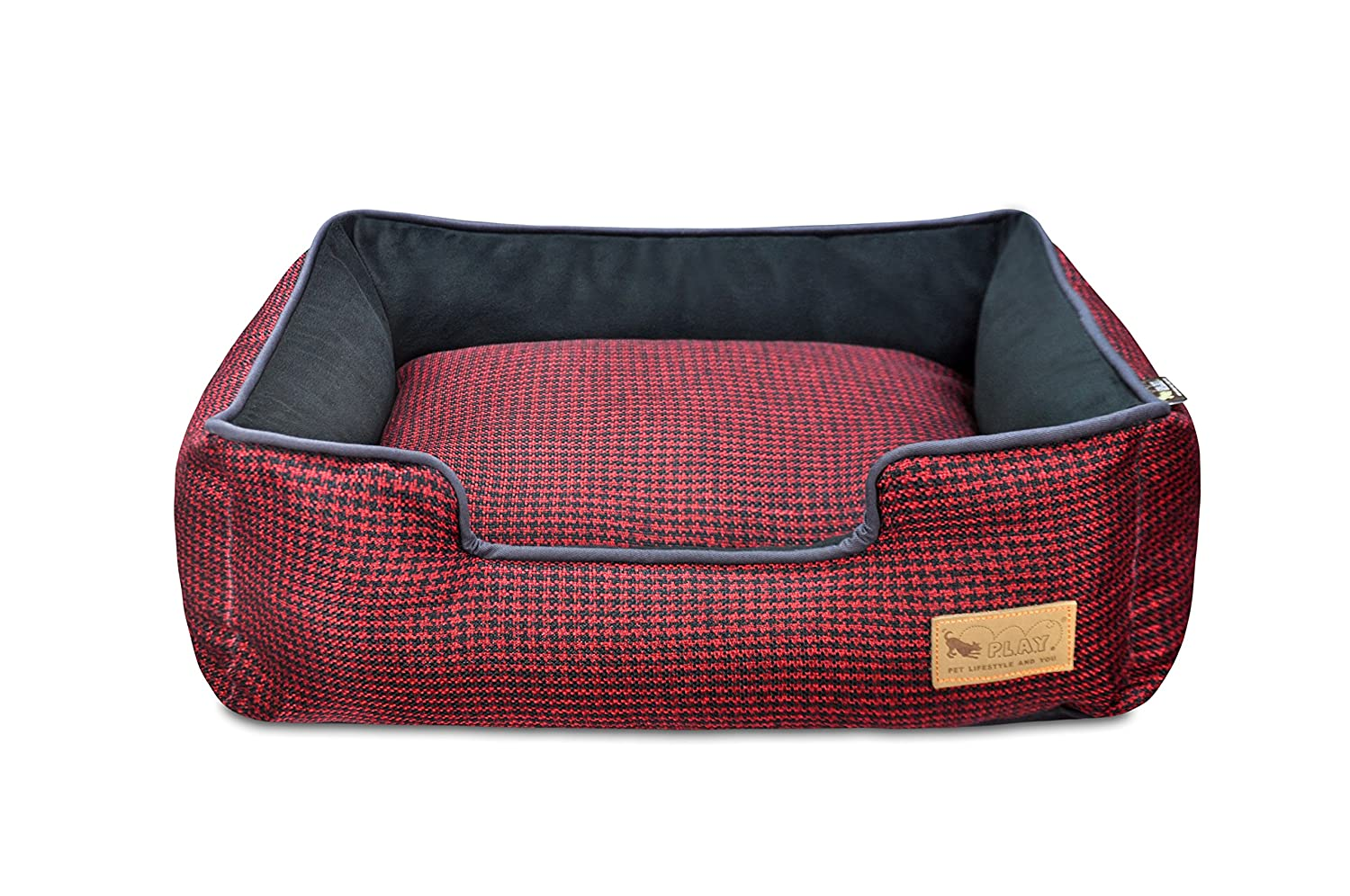 Red Black X-Large Red Black X-Large P.L.A.Y. Houndstooth Lounge Bed, X-Large, Red Black