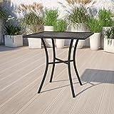 "Flash Furniture Commercial Grade 28"" Square Black Indoor-Outdoor Steel Patio Table"