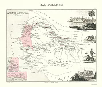 Amazon Com Old Africa Map Senegal Africa Migeon 1869 23 X