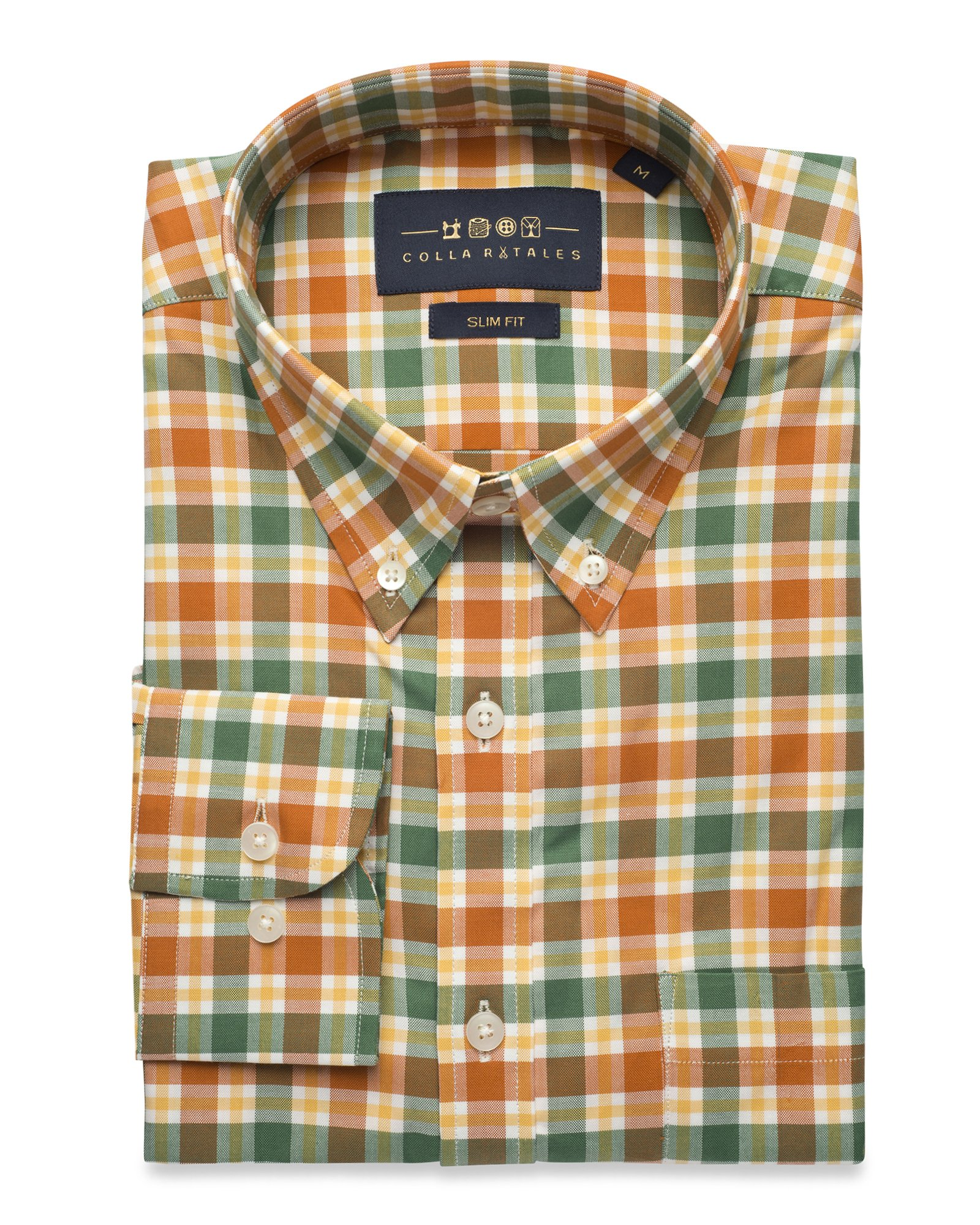 Collar Tales Men's Checkered Superfine Cotton Slim Fit Narrow Collar Button Down Long Sleeve Multi-Check Dress Shirt with Pocket- Green, Orange and White