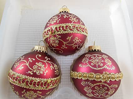 set of 3 vintage krebs mercury glass christmas ornaments with trademark crown tops 25 red - Mercury Glass Christmas Decorations