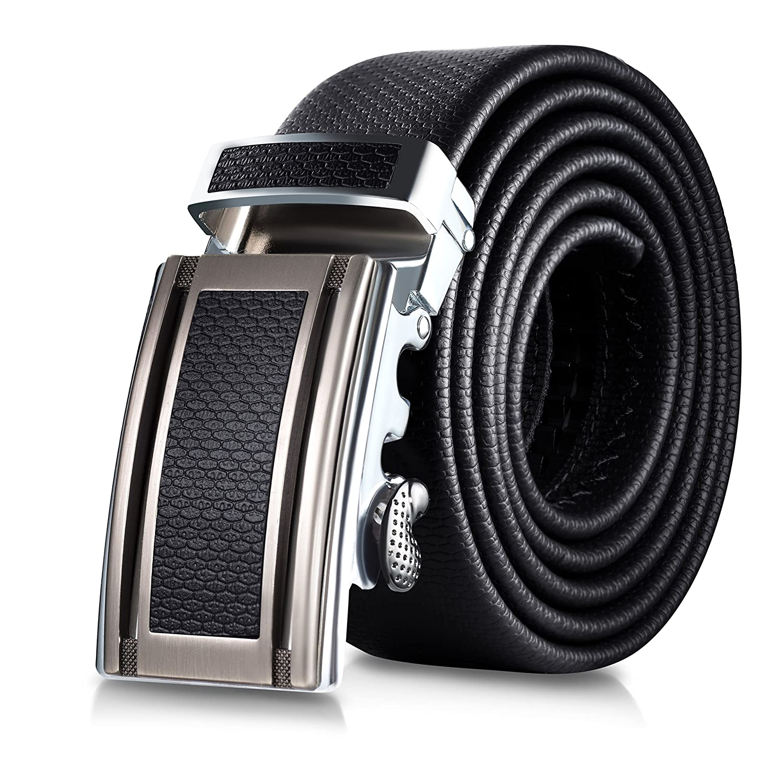 Mio Marino Classic RatchetBelt - Premium Leather - 1.38 Wide - Adjustable Buckle -Free Gift Box