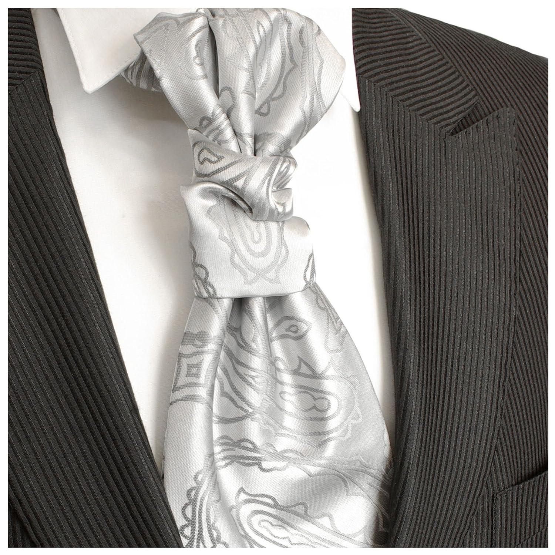 Paul Malone Cravattone Plastron Cravatta Sposo da Cerimonia argento paisley