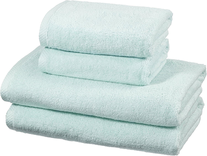 AmazonBasics - Juego de 4 toallas de secado rápido, 2 toallas de baño y 2 toallas de mano - Azul claro