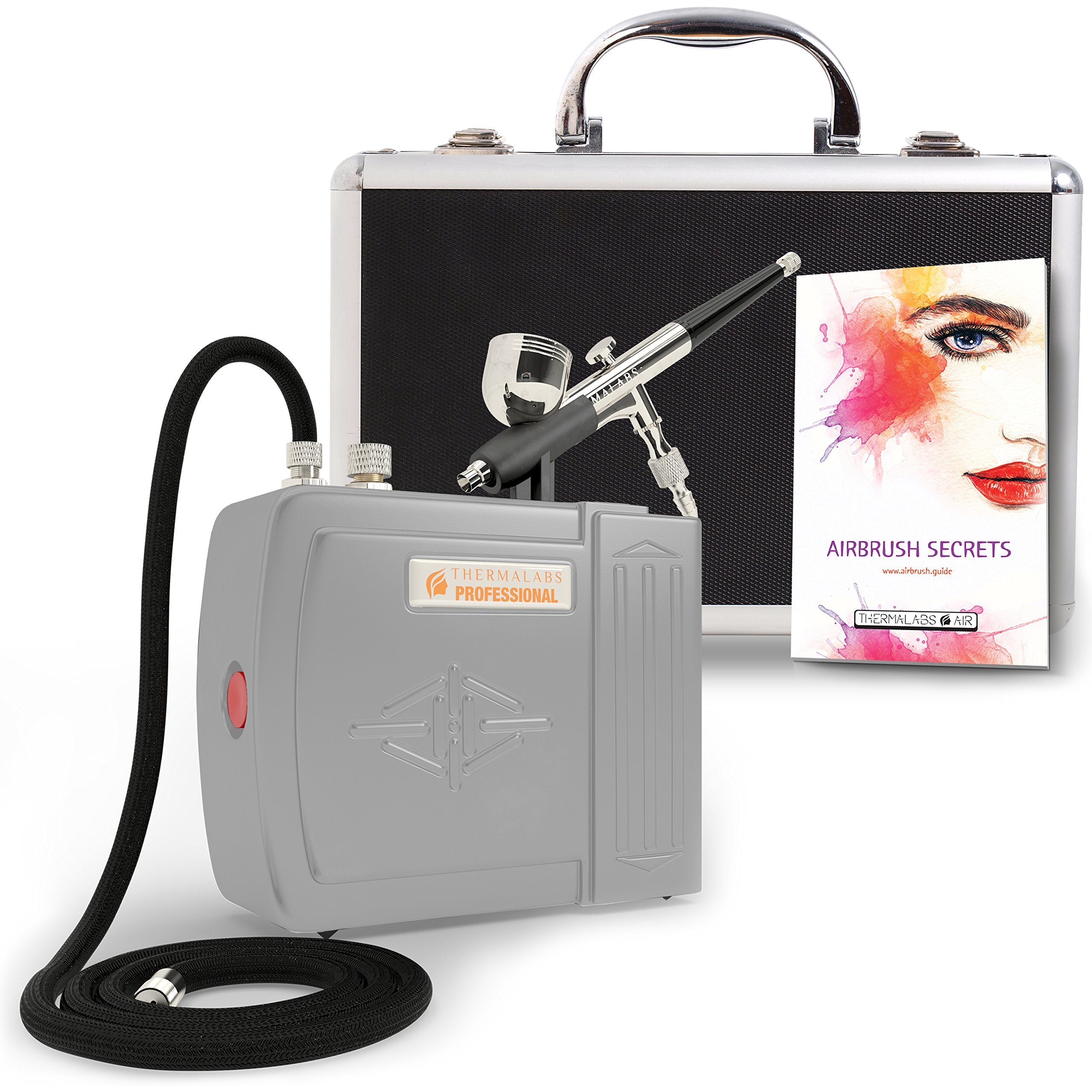 The Complete Airbrush Makeup, Cosmetic and Tattoo Professional Spray Gun Mini Compressor Kit for Multi Purpose Air Brushing: Make up, Body Paint, Temporary Tattoos, Nail Art Paints Machine and more by Thermalabs