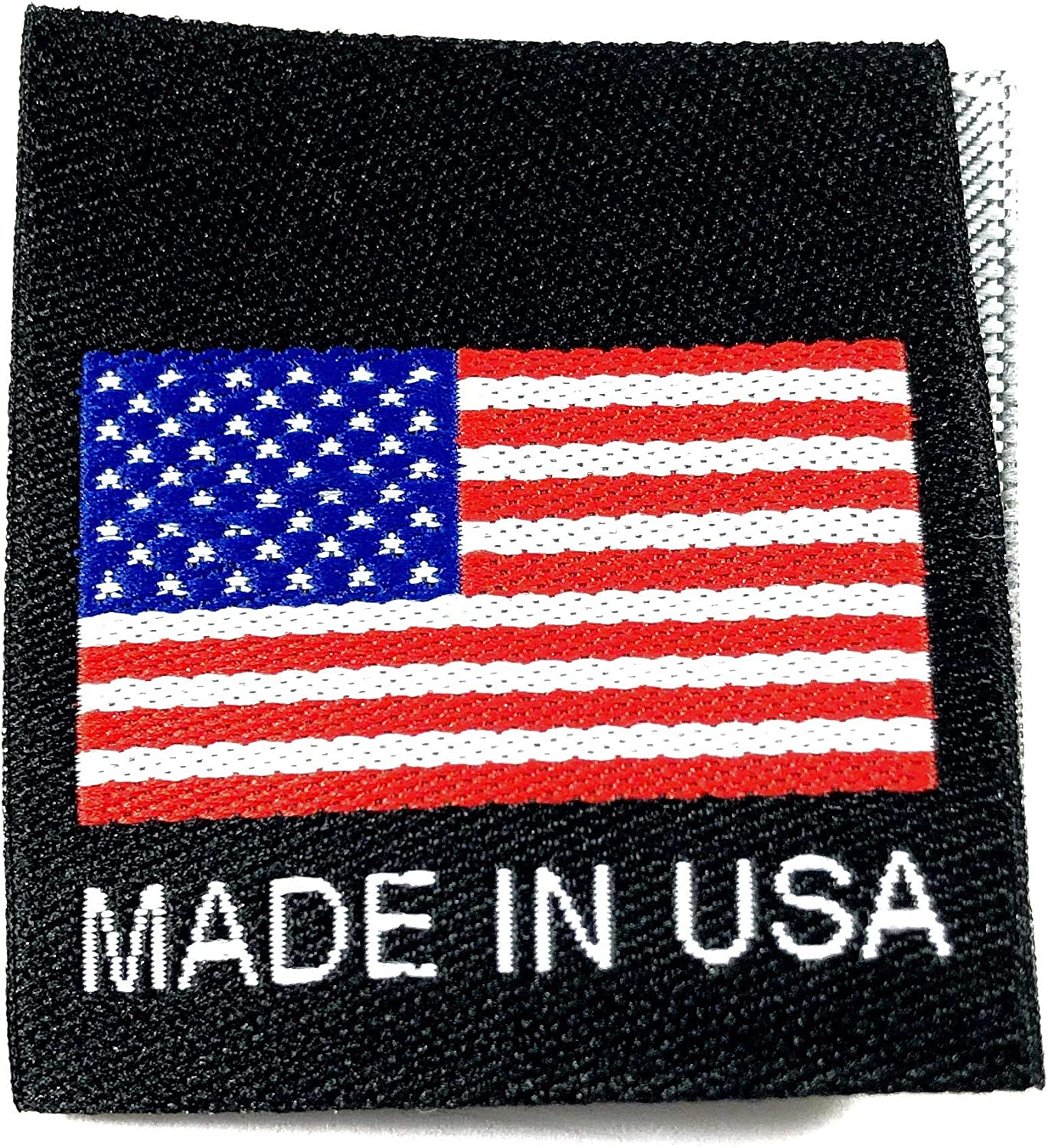 """Fast Shipping@USA 500 pcs Quality WOVEN SEWING LABELS FLAG /""""MADE IN USA/"""" Black"""