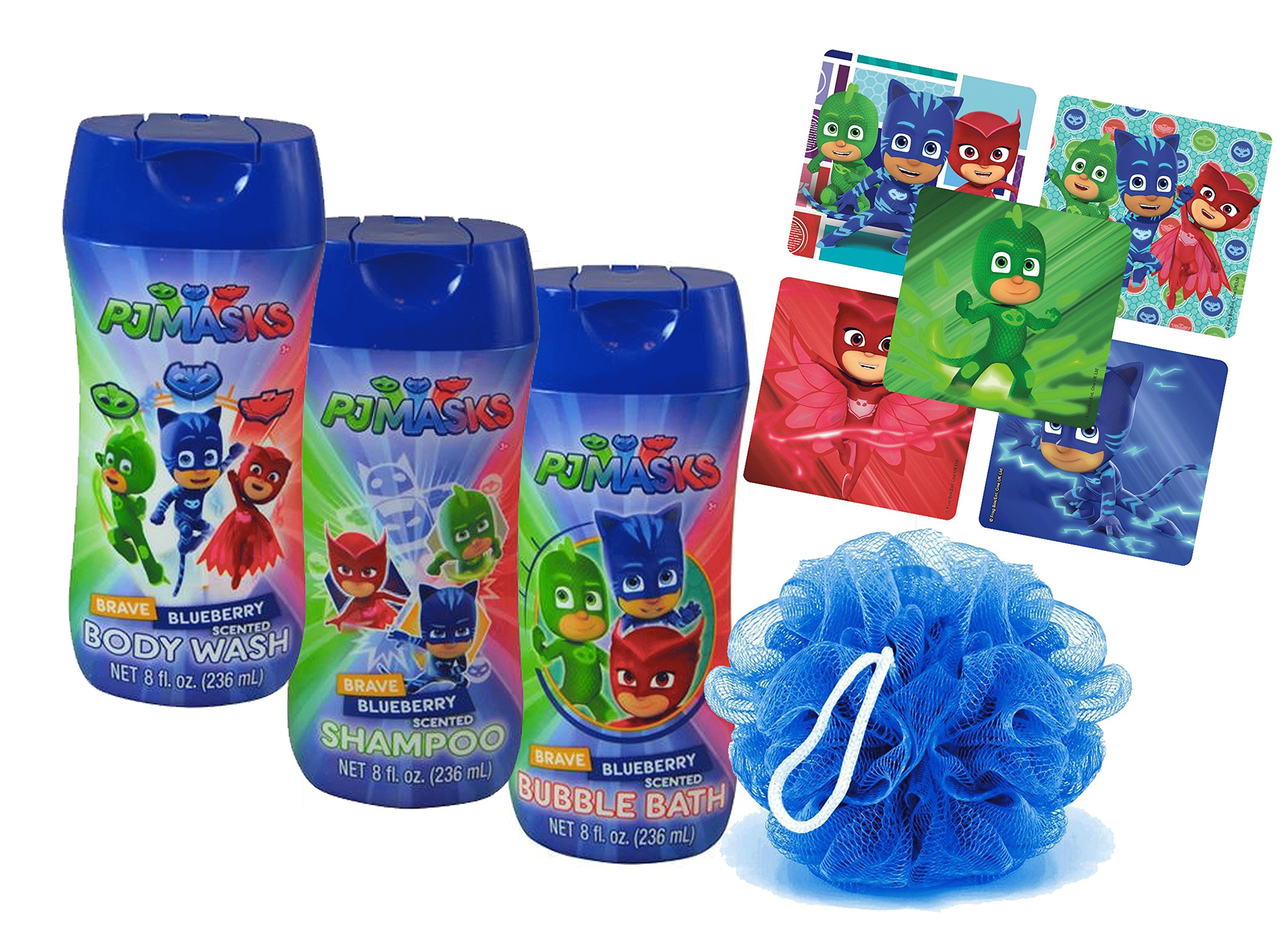 Pj Masks Super Hero 4pc Bathroom Collection! Includes Body Wash, Shampoo, Bubble Bath & Bath Scrubby! Plus Bonus PJ Mask Character Stickers!