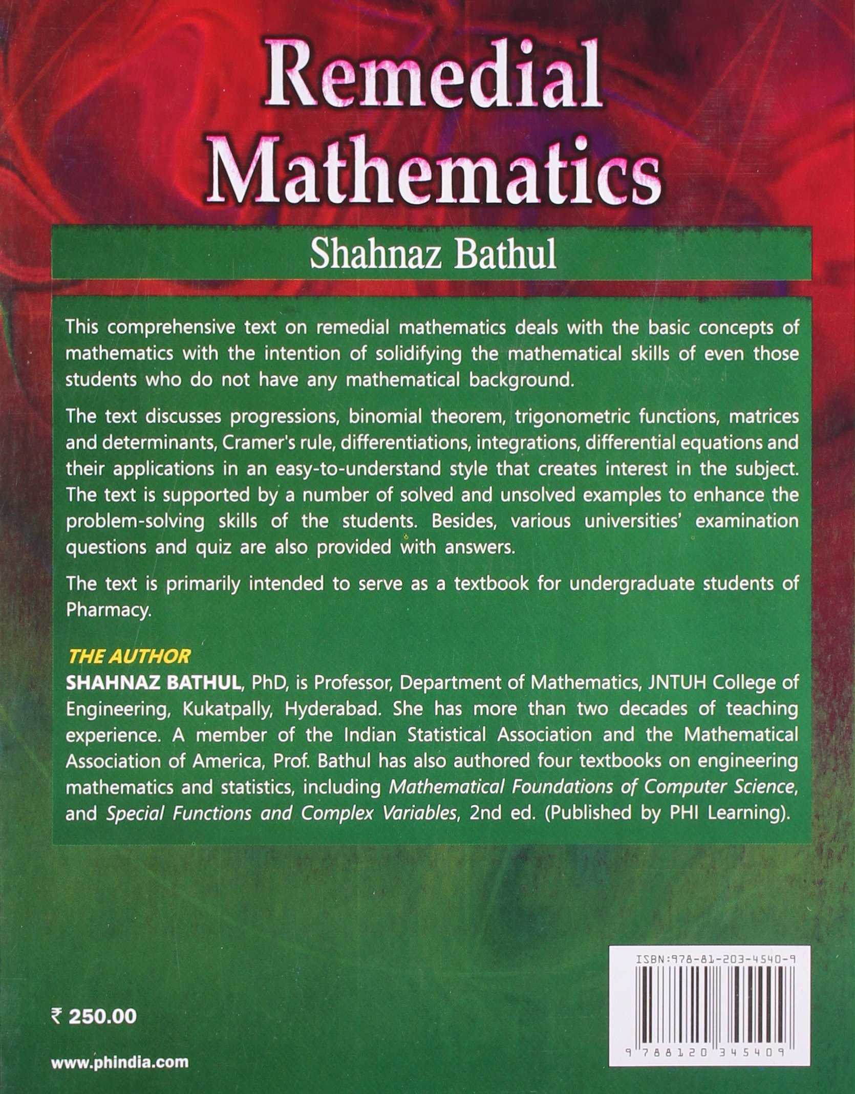 Buy Remedial Mathematics Book Online at Low Prices in India ...