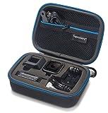 Supremery Sup75 Tasche für GoPro Hero-5 Hero-4 Session Case Hülle mit Netztasche, Reißverschluss und Karabinerhaken - Wasserabweisend in Blau/Schwarz