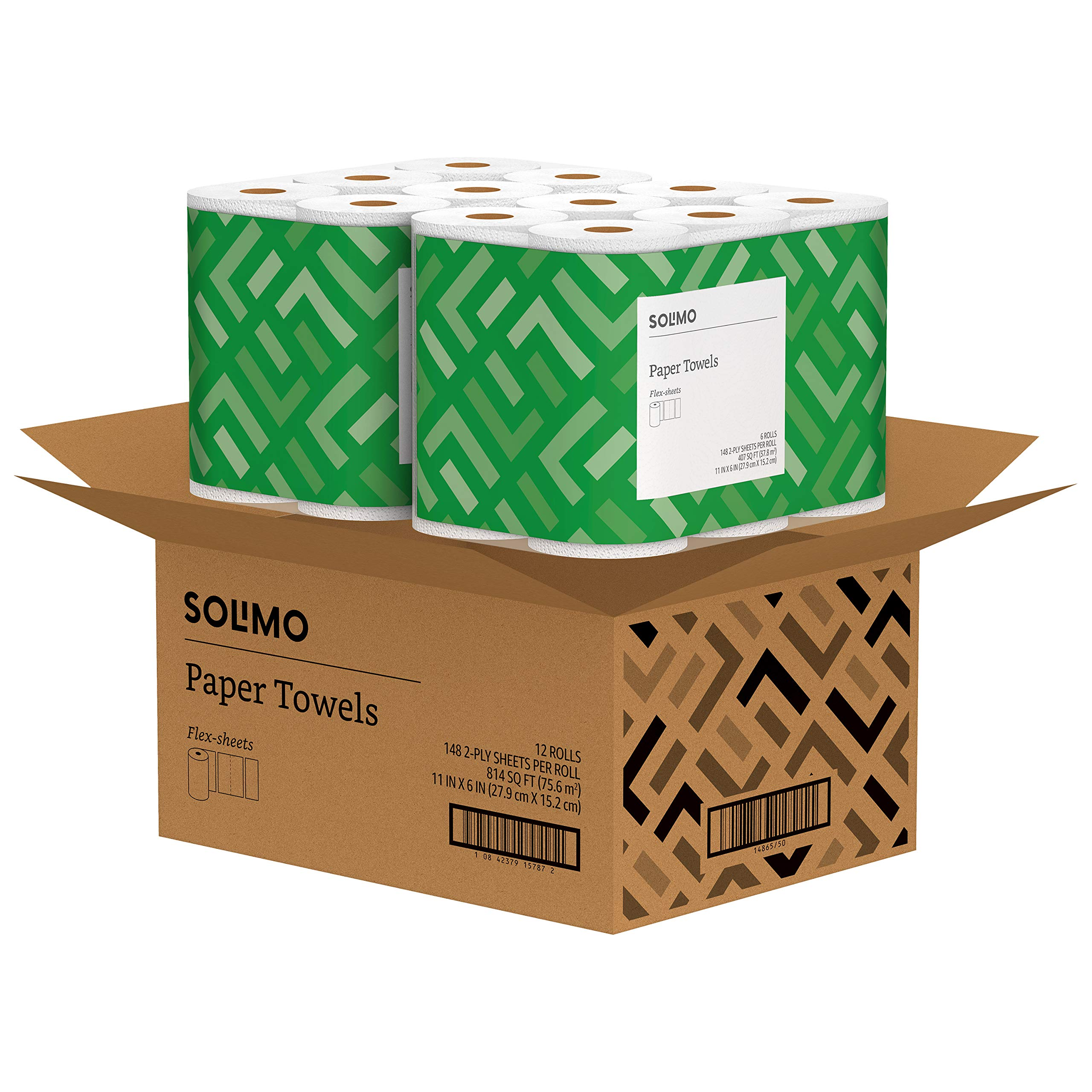 Solimo Basic Flex-Sheets Paper Towels, 12 Value Rolls, White, 148 Sheets per Roll (New Version) by SOLIMO (Image #2)