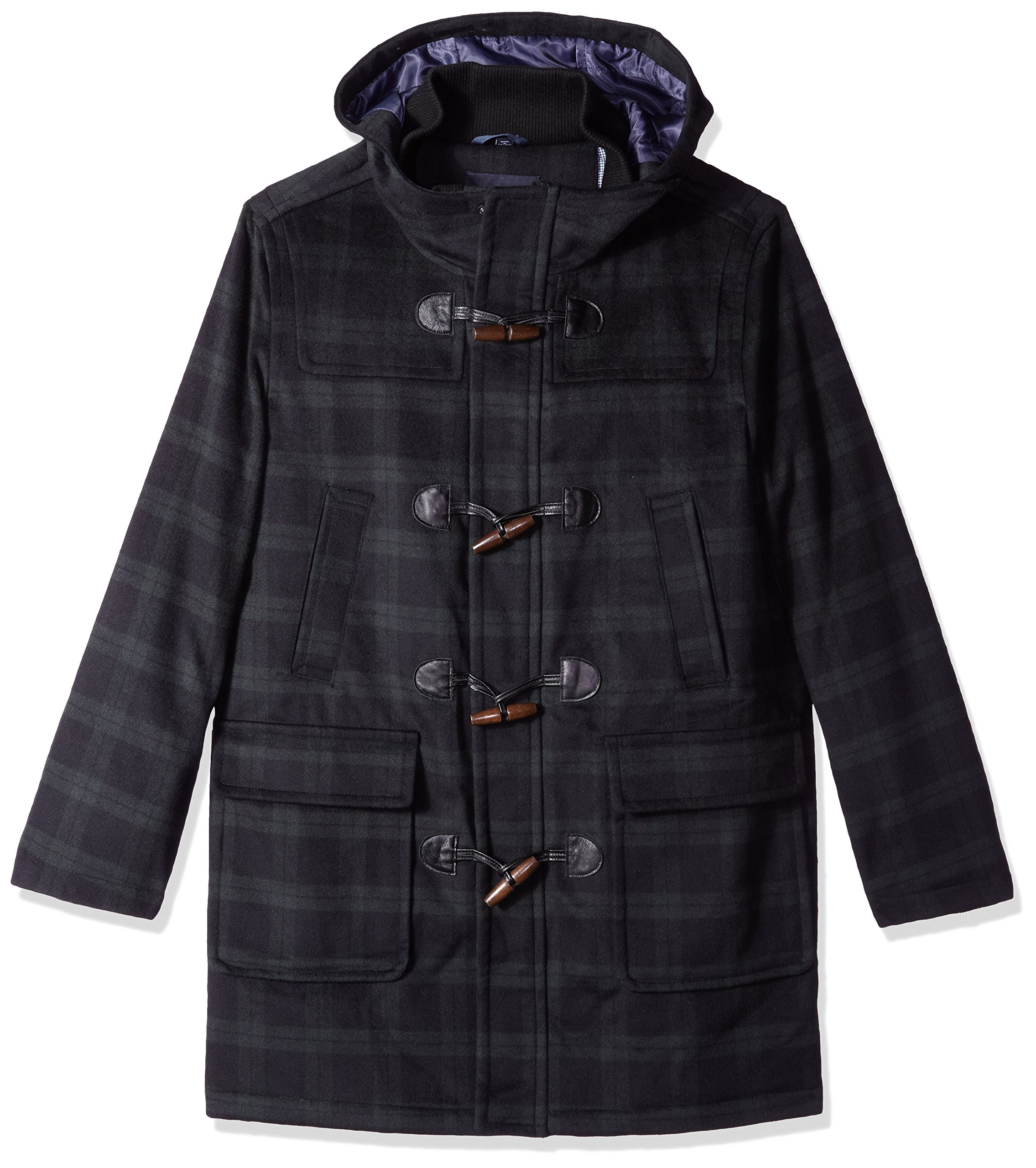 Tommy Hilfiger Men's Barry 36 Inch Toggle Coat, Black Watch Plaid, 44S