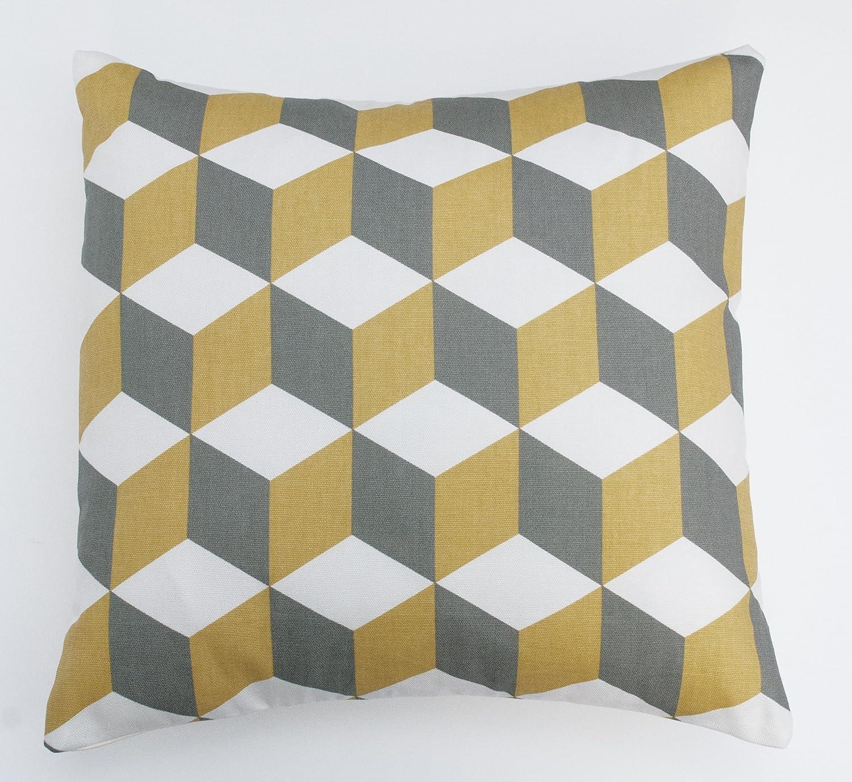 Cubo color mostaza y gris geométricas 16
