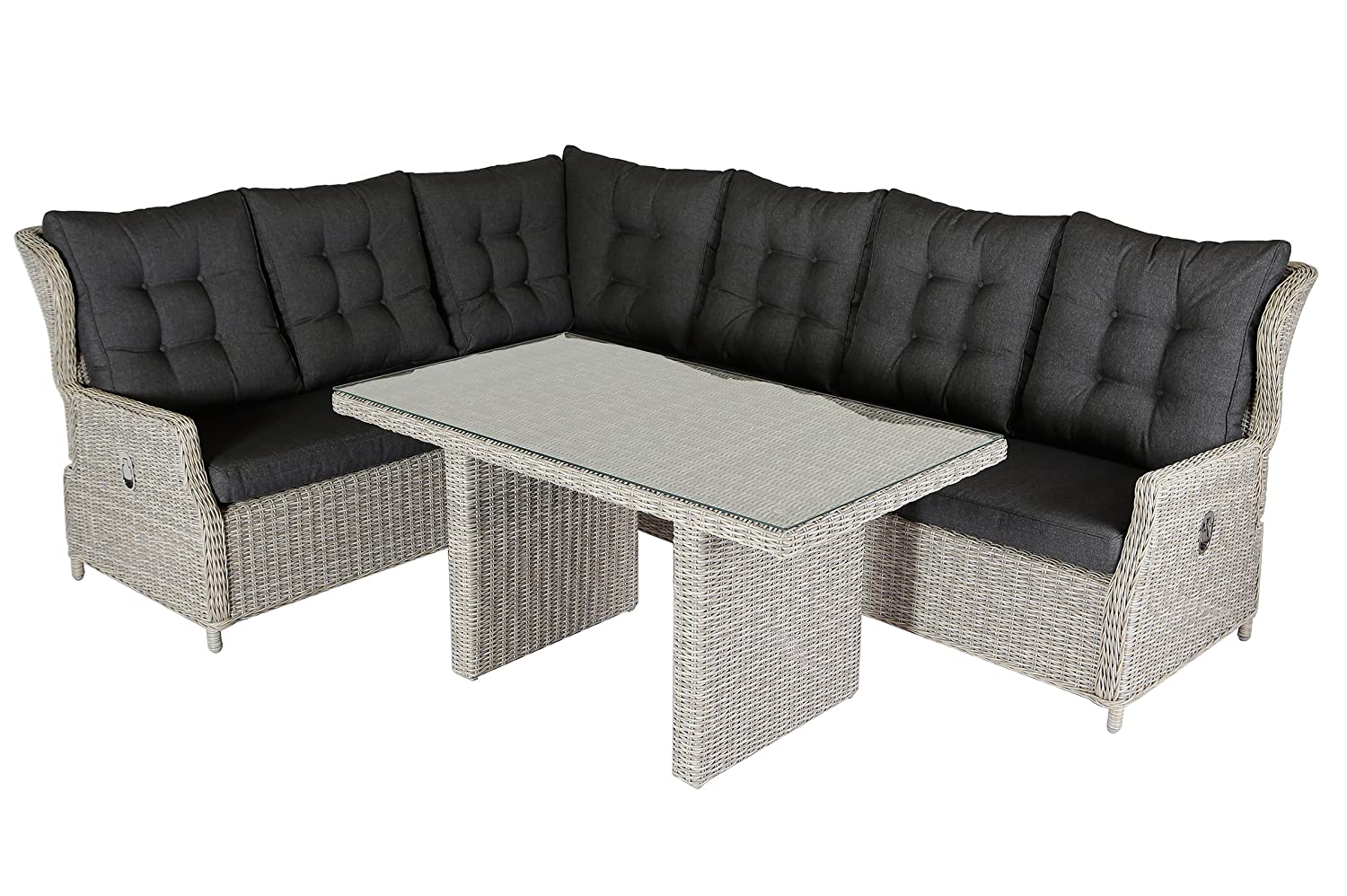 villana exklusive eck loungegruppe f r 6 personen aus hochwertigem polyrattan in braun. Black Bedroom Furniture Sets. Home Design Ideas