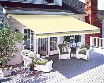 lowest price bbdf3 b37c4 Greenbay 4 x 3m DIY Patio Retractable Manual Awning Garden Sun Shade Canopy  Gazebo Cream with Fittings and Crank Handle