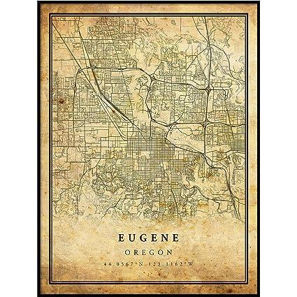 Vintage Oregon Map.Amazon Com Eugene Map Vintage Style Poster Print Old City Artwork