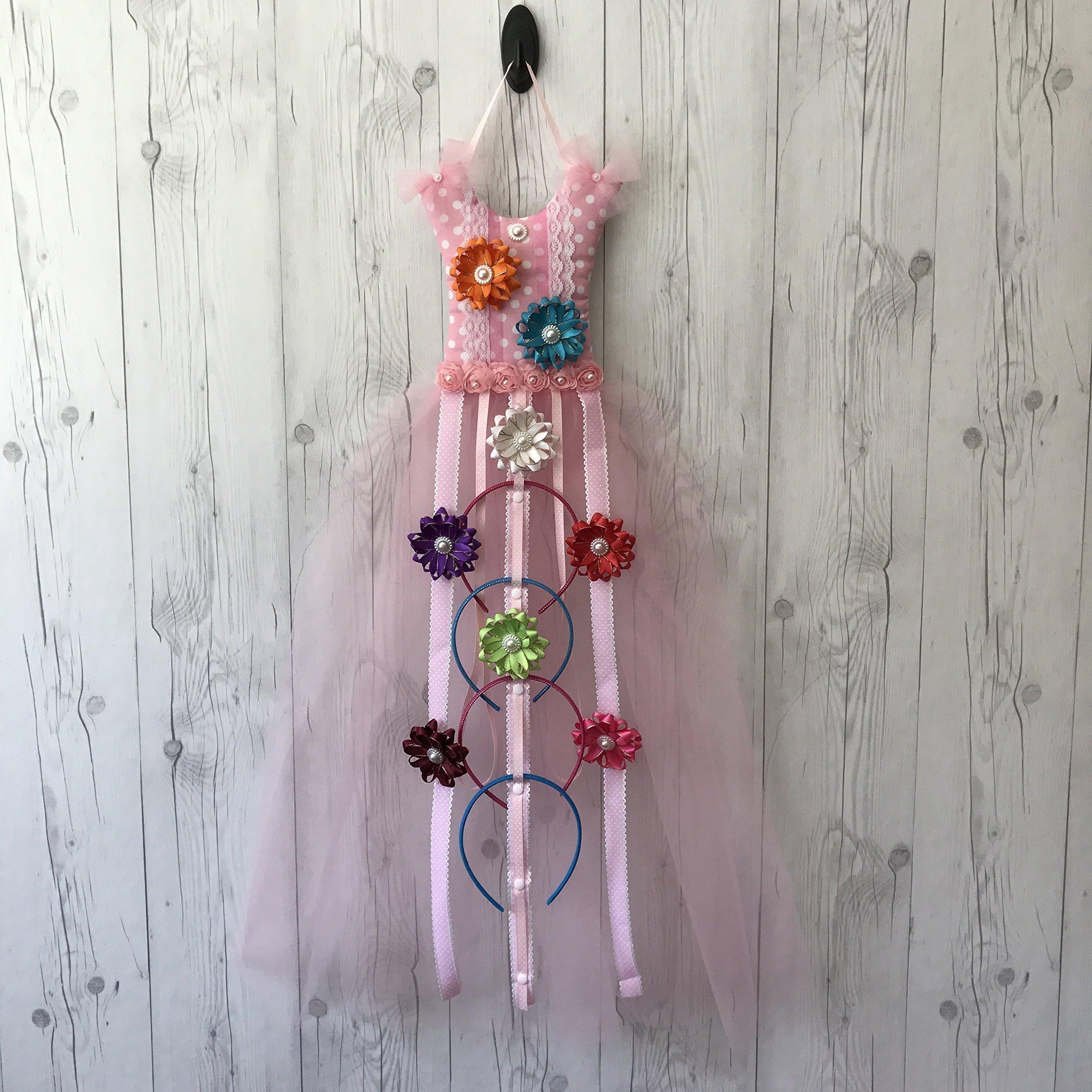 Bead&Cord Pink Polka Dots Tutu Dress Hair Bow Holder Organizer: Hair Accessories Holder for Hair Bows, Headbands, Hair Clips [Tutu Pink Polka Dots]