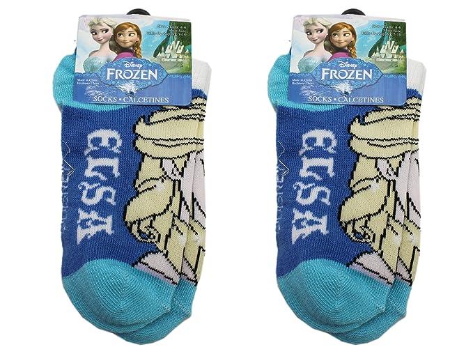 2 Pair Blue Disney Frozen Queen Elsa Kids Socks (Size 4-6)