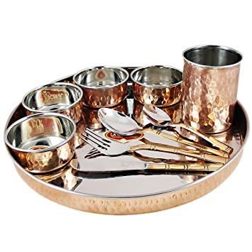 RoyaltyLane Tableware Set, Service for 8, Copper Stainless Steel Dinner Plate, Bowls, Water Glass and Cutlery Set. Dinnerware & Serving Pieces at amazon