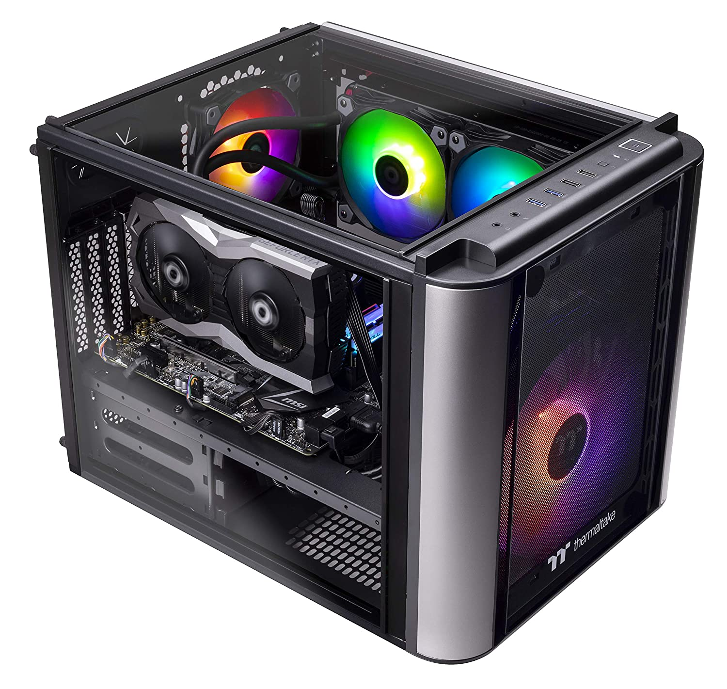 Thermaltake Level 20 AVT-01 Closed Loop Liquid Cooled CPU Gaming PC, Intel i5-9600k 3.7GHz, 16GB GSKill RGB, NVIDIA RTX 2060 6GB, Evo Plus M.2 500GB, 500GB SSD, WiFi, Win 10 Pro. L2VT-Z390-P19-LGS