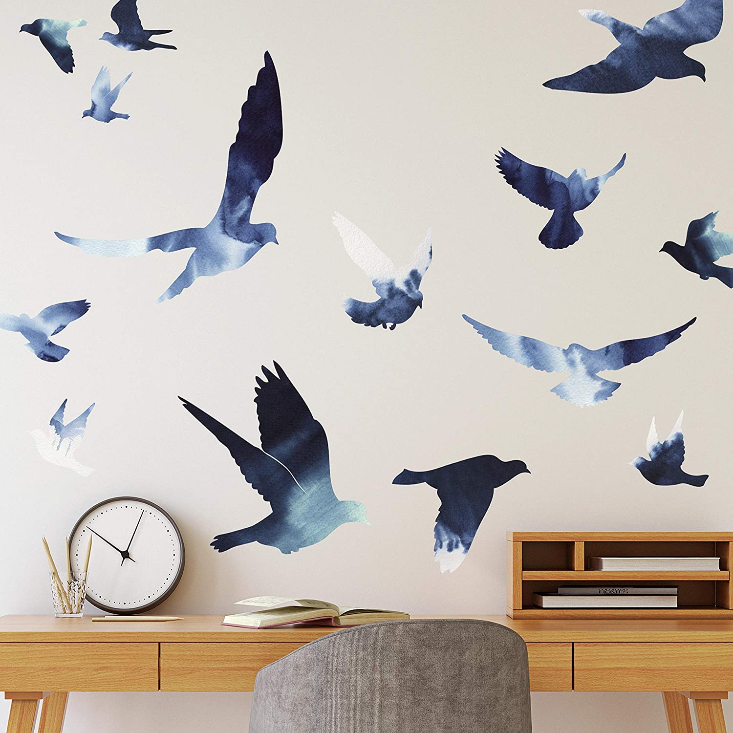 RoomMates Birds In Flight Peel And Stick Giant Wall Decals | Blue Wall Stickers