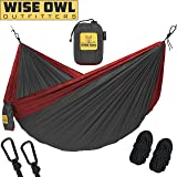 Wise Owl Outfitters Hammock for Camping - Single & Double Hammocks Gear For The Outdoors Backpacking Survival or Travel - Portable Lightweight Parachute Nylon Many Colors