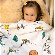 Organic Muslin Baby Toddler Blanket - 100% Hypoallergenic Cotton Bed Blankets - Sky Fun by Clover & Sage