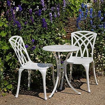 Table Blanche Ella avec 2 chaises May Salons de jardin ...