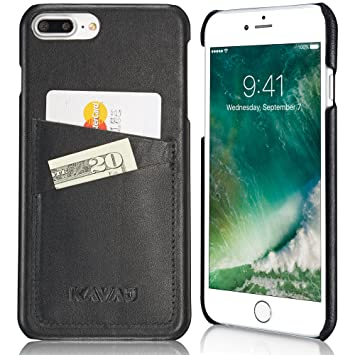 KAVAJ Funda iPhone 8 Plus iPhone 7 Plus Case Piel Tokyo Negra Piel auténtica con Compartimento