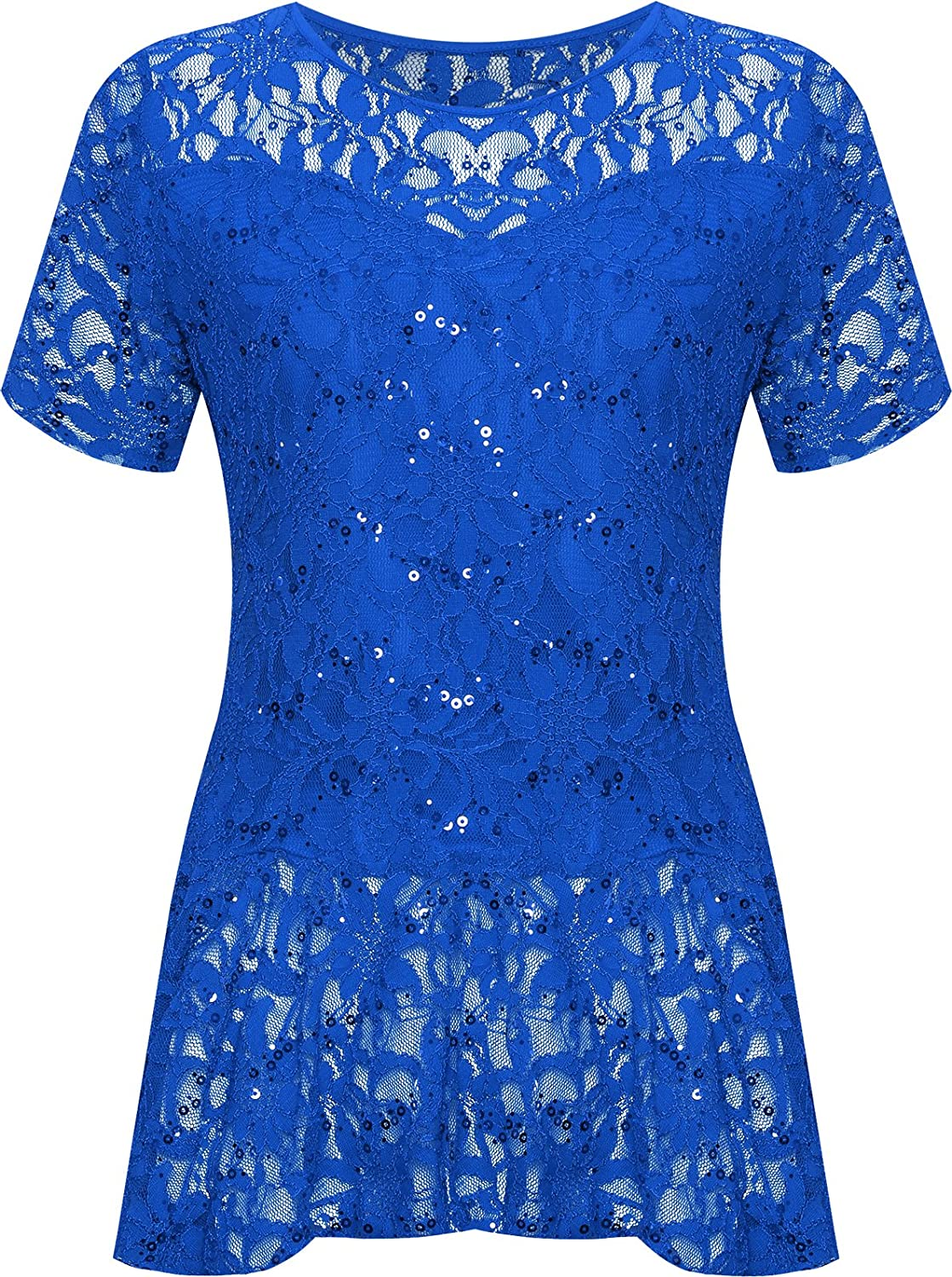 US 18-20 UK 22-24 Royal Blue WearAll Plus Size Womens Lace Sequin Peplum Top