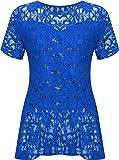 WearAll - Grande taille dentelle paillettes haut à péplum et manches courtes - Hauts - Femmes - Tailles 42 à 56