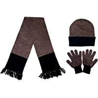 Gajraj Men's Woolen Muffler, Cap and Gloves Set