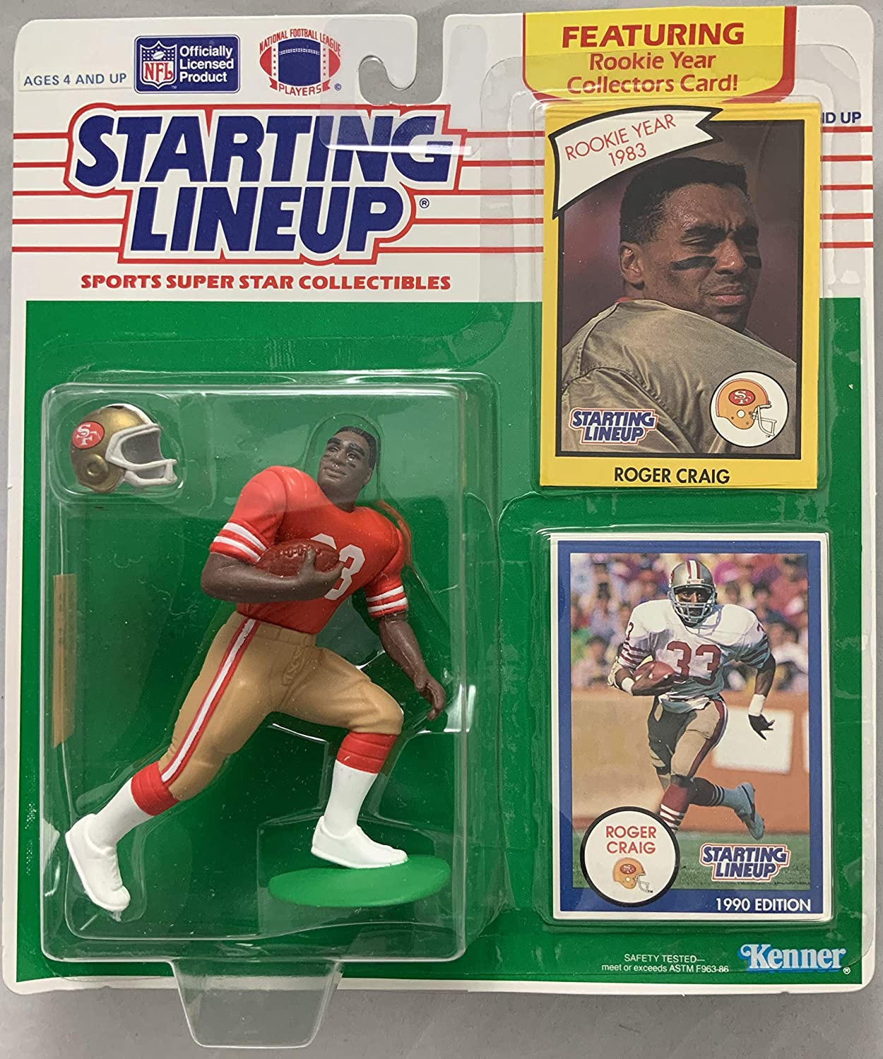 1990 KENNER STARTING LINEUP ROGER CRAIG RED JERSEY SAN FRANCISCO 49ERS MOC