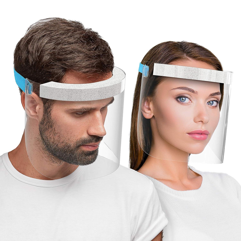 HARD 1x Visera de protección facial, Certificado médico, Protector de plástico Antivaho, Pantalla protectora para adultos, Hecho en Alemania - Blau