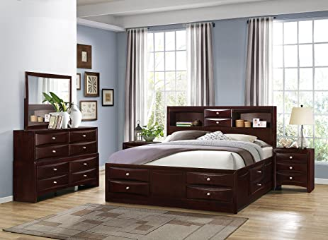 Roundhill Furniture Ankara Wood Construction Bedroom Set, Includes Queen Bed,  Dresser Mirror With 2