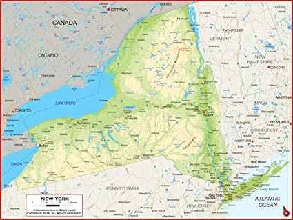 Map Of New York State And Canada.Amazon Com 36 X 27 New York State Wall Map Poster With Topography