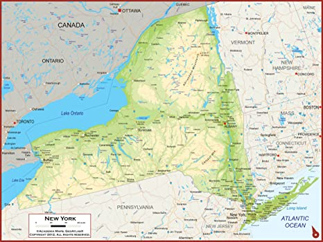 36 x 27 New York State Wall Map Poster with Topography - Classroom Style  Map with Durable Lamination - Safe for Use with Wet/Dry Erase Marker -  Brass ...