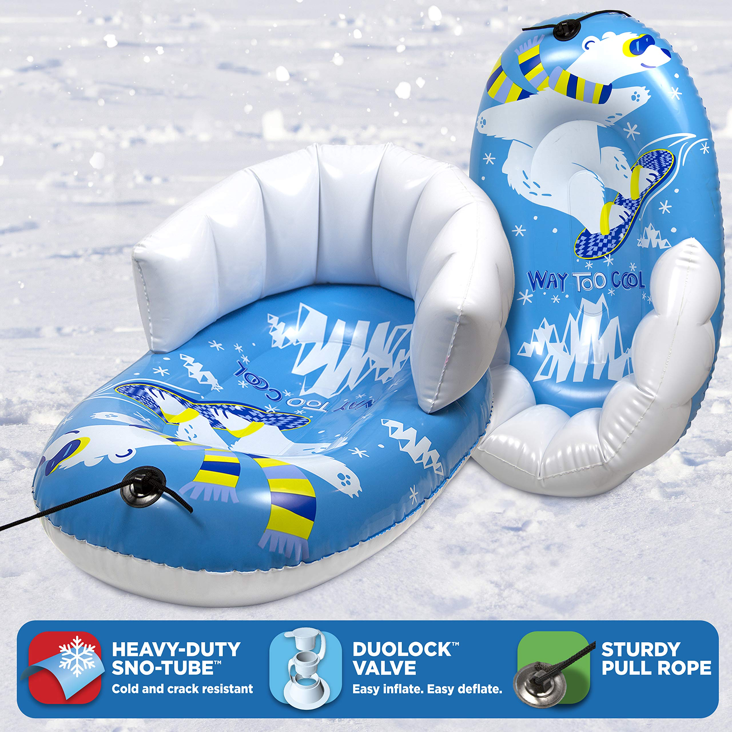 """Pipeline Sno Polar Bear Snow-Pal Inflatable Kids Snow Tube with High Back Seat and Repair Kit, 33"""" Inches Long by Pipeline Sno (Image #3)"""