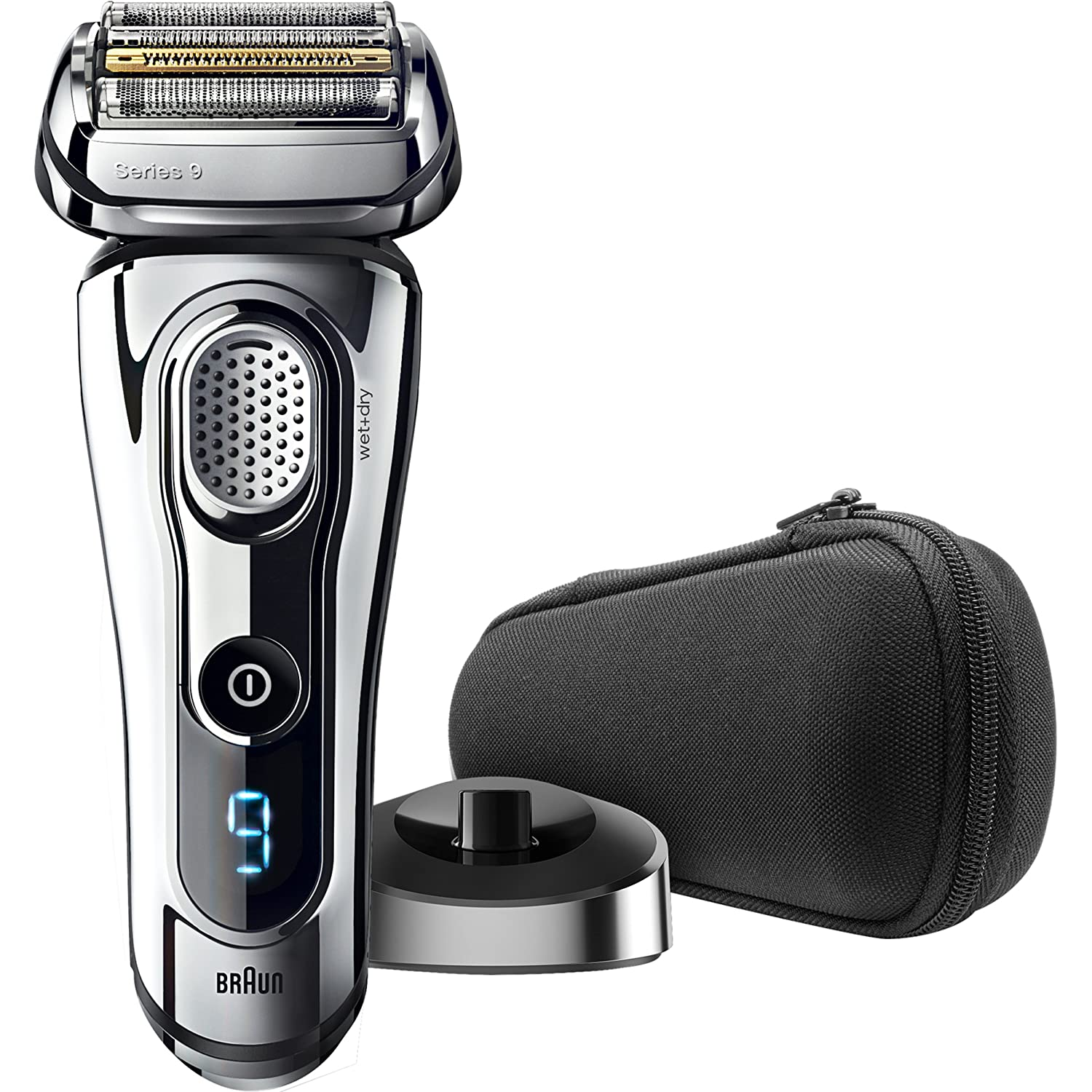 Braun Electric Razor for Men/Electric Shaver, Series 9 9293s Electric Razor for Men, Travel Case with Charging Stand, Rechargeable & Cordless, Wet & Dry, Pop Up Trimmer, Premium Chrome Cordless Razor