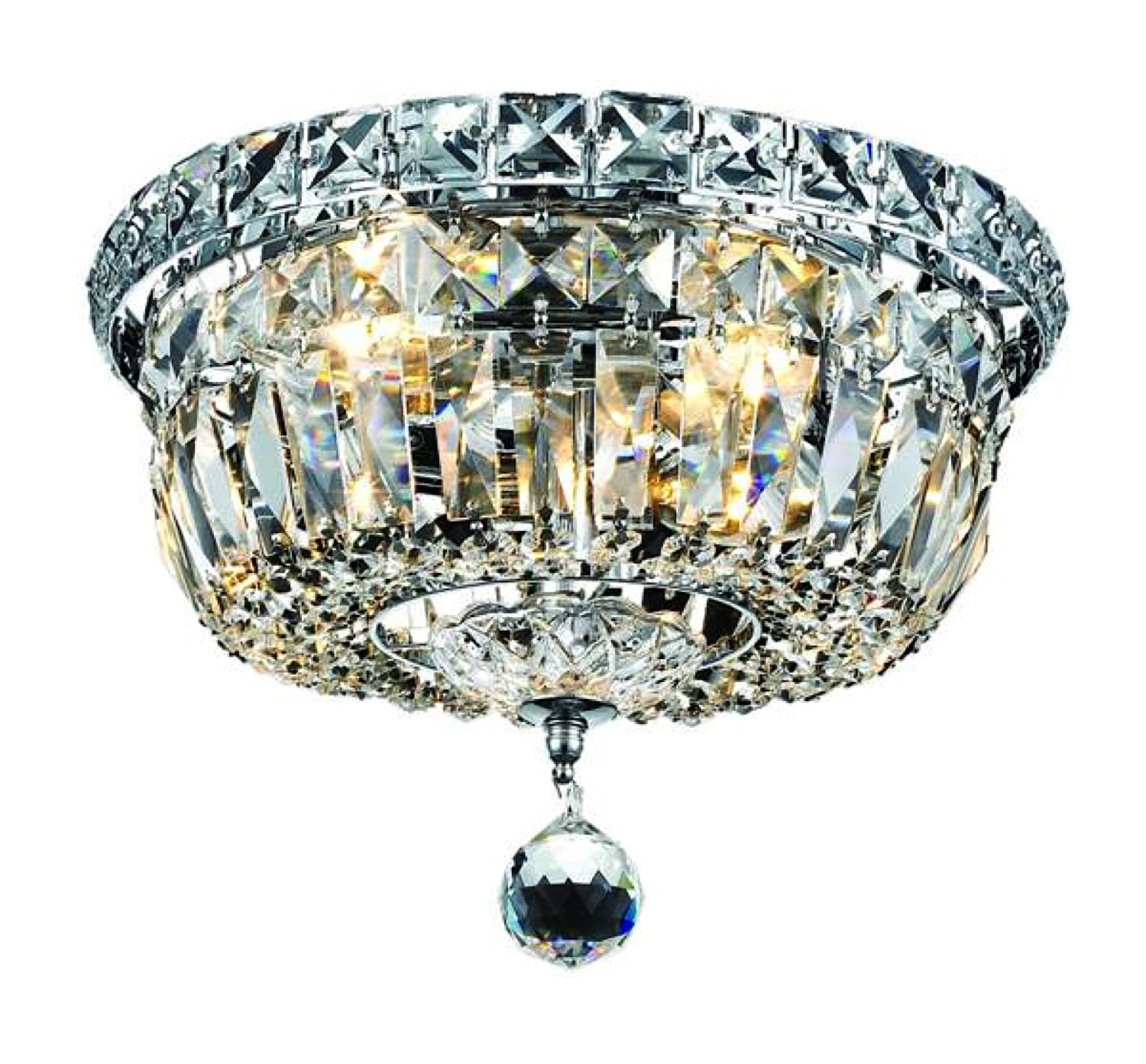 Elegant Lighting 2528f10c Rc Tranquil 8 Inch High 4 Light Flush Mount Chrome Finish With Crystal Clear Royal Cut Close To Ceiling