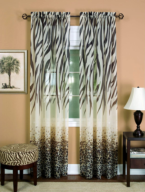 "Achim Home Furnishings Kenya Curtain Panel, 50 63-Inch, Brown, 50"" x 63"","