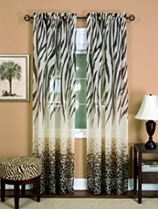 "Achim Home Furnishings Kenya Curtain Panel, 50 63-Inch, Brown, 50"" x 63"","