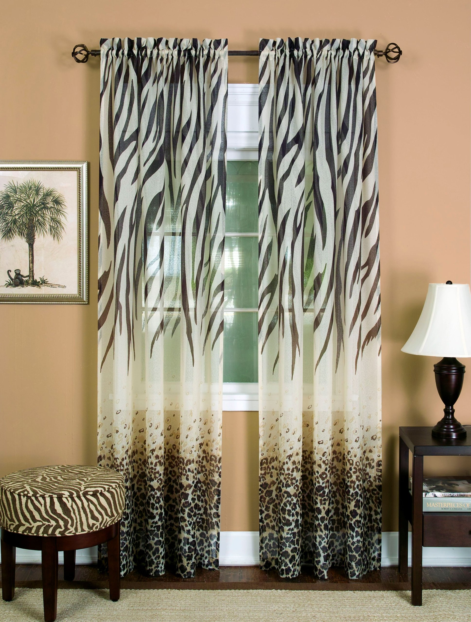 Achim Home Furnishings KNPN63BW12 Kenya Curtain Panel, 50'' x 63'', Brown